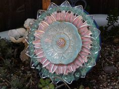 Drought Resistant Plate Flower. #221.         Garden Yard Art glass and ceramic plate flower