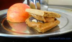 Daytime S'more Gluten-free graham crackers, dark chocolate, organic peanut butter (or any nut/seed butter) and apple. Quick and well-liked.