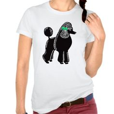 Standard Poodle with Green Bow Ladies T-Shirt; Abigail Davidson Art; ArtisanAbigail at Zazzle