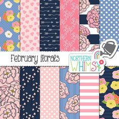 """Floral Digital Paper - """"February Florals"""" - flower and heart scrapbook paper in pink, navy & periwinkle - seamless patterns - commercial use"""