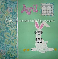Footprint Bunny for April's Handprint Calendar 2 - Fun Handprint Art Bird Crafts, Bunny Crafts, Cute Crafts, Easter Crafts, Easter Ideas, Fingerprint Crafts, Footprint Crafts, Art For Kids, Crafts For Kids