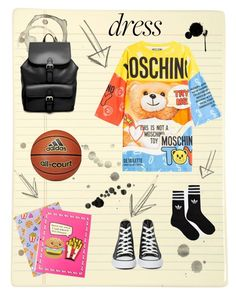 """Back To School"" by yulia-osipyants ❤ liked on Polyvore featuring Moschino, Converse, ASOS, claire's, adidas and longsleevedress"