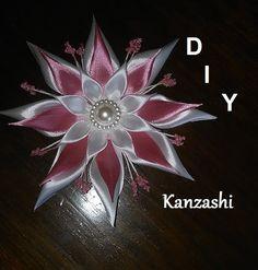 DIY/MK/Tutorial/Kanzashi flower white&rose