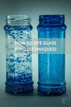 Colored glass bottles are easy to make. We tested an two techniques for 'dying' clear glass and adding color to it. glass bottle crafts How To: 'Dye' Clear Glass Any Color (We Test Two Techniques) Painting Glass Jars, Painted Glass Bottles, Colored Glass Bottles, Small Glass Bottles, Glass Bottle Crafts, Clear Glass Vases, Bottle Painting, Decorative Glass Bottles, Wine Bottles