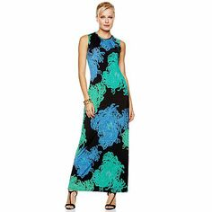 Nikki Poulos Printed Jersey Maxi Dress @HSN www.nikkipoulos.com