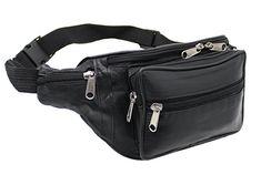 Ras Wallets Men's Genuine Soft Leather Extra Large Quality Travel Waist Bum Bag Money Pouch Black #1006