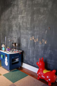 Toy Room Chalk Board Wall or at least a section - framed :)
