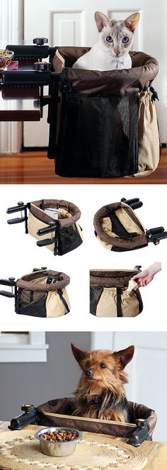GET OUT! Are you kidding me?! It's a clip-on travel pet seat. Speechless. #Designer_Pet #Product_Design
