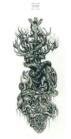 Brilliant Intricate Drawings of DZO Olivier is part of Small Flower tattoos Articles - Showcase of brilliant intricate drawings of DZO Olivier He is a France based graphic designer, a selftaught painter and illustrator who is graduated Norse Tattoo, Viking Tattoos, Slavic Tattoo, Viking Tattoo Sleeve, Tattoo Sketches, Tattoo Drawings, Body Art Tattoos, Sleeve Tattoos, Dark Tree