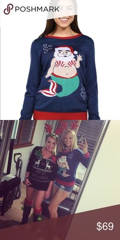 Mermaid Santa  Ugly XMas Sweater S Cute xmas sweater I purchased from Tipsey Elves.com. Worn 1x. VEUC Tipsey Elves Tops Sweatshirts & Hoodies