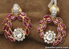 Uncut Doamond Polki Chand Bali designs with ruby emarald pearls - Latest Jewellery Designs
