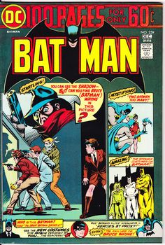 FREEDOM OF CHOICE! Choose which GRADE you want of this issue, use the drop down tab in the upper right which tells the conditions and prices. Stored in a smoke free, climate controlled environment. All issues are bagged and boarded. $3.99 for one comic, .50 cents for each additional issue, unlimited Shipping $8.  Batman #259 100 Page Giant. A sweet copy of this 100 Page Spectacular, Batman 259 featuring the Shadow. Has off WHITE!!! interior pages. Staples are tight, no missing interior…