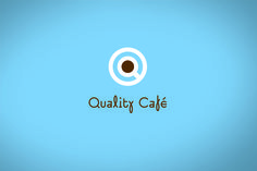 """Versatile -  The brown centre of letter """"Q"""" can be used as colour codes on the packaging. The logotype is a modern, playful typeface which is to solve the geometric containment of the logo. Different shades of brown colour indicate the type of coffee roasting in the cup. The colours of the rings on the saucers offer three colour variations indicating different areas of this company."""