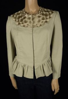 PORTS 1961 Beige & Gold Embroidered Flare Jacket Sz 6