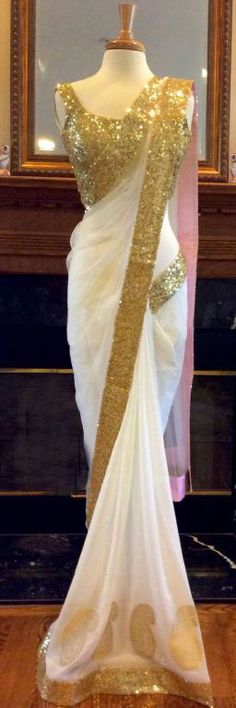 White georgette saree with shining border