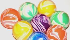 """Bouncy Superballs to make... wheeeeeee! (So funny. Instructions say """"Don't eat the materials used to make the ball or the ball itself."""" - Is that really necessary?)"""