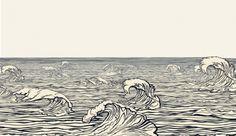 Illustrated Waves Design Wallpaper Mural, Illustrated Waves Design Wall Mural ( wave tattoo idea)