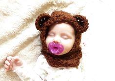 Bear Hooded Cowl CROCHET PATTERN Cowl Hood Cowl Neck by zxcvvcxz