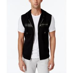 Inc International Concepts Men's Fun Full-Zip Hoodie Vest, ($60) ❤ liked on Polyvore featuring men's fashion, men's clothing, men's outerwear, men's vests, deep black, mens full zip sweater vest, mens vest, mens vest outerwear and mens hooded vest