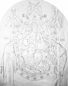Christ in glory-Deesis Russian drawing. Orthodox Icons, Sketches, Painting Process, Byzantine Art, Drawings, Tempera Painting, Art, Coloring Pages, Sacred Art