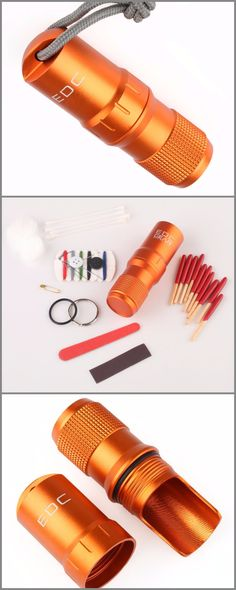 Orange CNC Machined Aluminum EDC Survival Waterproof PillMatch Case Box Container Lid - Everyday Carry Gear