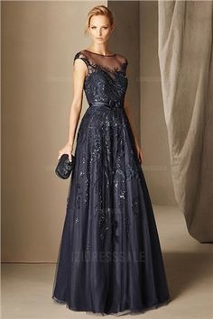 A-Line/Princess Jewel Floor-length Tulle Mother of the Bride Dress