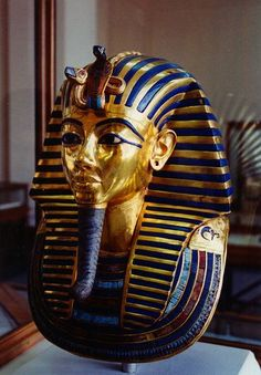 Death-mask of Tutankhamun.  I have had the privilege of seeing the mask up close and personal on three occasions:  twice when the Tut Collection was brought to the Metropolitan Museum of Art in the 1970s, then again in 1984, when my mother and I actually went to Egypt for a 10-day excursion,including the Egyptian Museum.  A truly remarkable and beautiful country.  The people were so kind, very sweet.