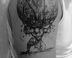 Artistic Atlas Holding The Globe Mens Upper Arm Fitness Tattoo Ideas Fitness Tattoos, Arm Tattoos For Guys, Great Tattoos, Dumbbell Tattoo, Weightlifting Tattoo, Globus Tattoos, Tattoo Arm Mann, Atlas Tattoo, Spartan Tattoo