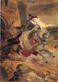 Mikoláš Aleš Břetislav a Jitka 1878 National Theatre, Czech Republic, Prague, Art Nouveau, Folk, Illustration, Artist, Painting, Inspiration