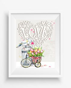 Bird with Red Heart,Beautiful Love,Flowers print,digital prints,home decor,