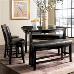 Genial Ashley Millennium Emory Triangle Pub Table Set With Two 24 Inch Upholstered  Swivel Bar Stool And 2 Double Backless Stools   Del Sol Furniture   Pub  Table ...