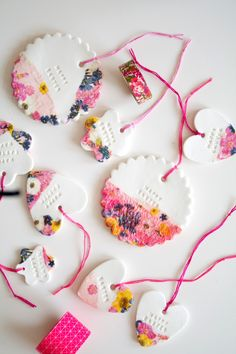 Very pretty clay ornaments decorated with #washi tape #floral #neon, these would make great gift tags