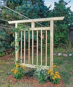 Free plans to build this DIY trellis-clothesline!