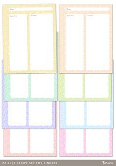 recipe binder templates printable free   Paisley Recipe Set for Binders   Printable   Bizuza Printables