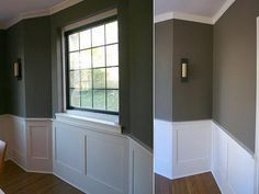 gray livingroom with chair rail | The astounding pics above, is segment of Installing Wainscoting- Steps ...