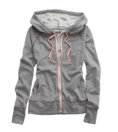 hooded sweatshirt in dark heather grey & baby pink from aerie