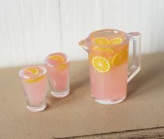 Dolls House Miniature Pink Lemonade Set in 1:12 scale by Artistique on Etsy