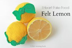 I heart fake food - Lemon Tutorial, free pattern and tutorial, add some lemons to your play kitchen.
