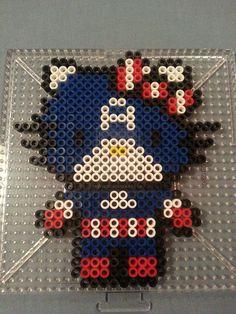 Hello Kitty Captain America Perler Bead Figure by AshMoonDesigns on deviantART Melty Bead Patterns, Pearler Bead Patterns, Perler Patterns, Beading Patterns, Perler Beads, Perler Bead Art, Fuse Beads, Hello Kitty, Pearl Beads Pattern