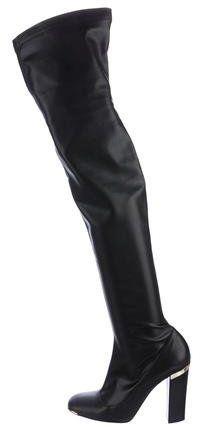 Stella McCartney Vegan Leather Over-The-Knee Boots Leather Over The Knee Boots, Vegan Boots, Black Boots, Vegan Leather, Stella Mccartney, Gold Accents, Heels, Stuff To Buy, Polyvore