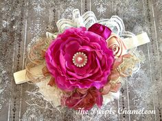 Custom Sized Shabby Chic Headband in Mauvey by ThePurpleChameleon