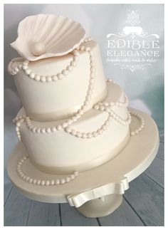 30th Pearl Anniversary cake, hand made lustred shell and pearls.