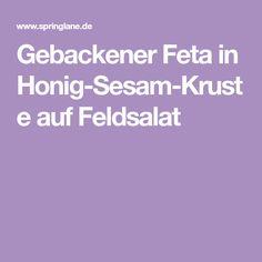 Gebackener Feta in Honig-Sesam-Kruste auf Feldsalat