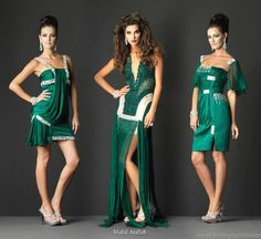 Deep jewel tones - emerald green evening cocktail couture gowns by Walid Atallah