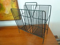 Mid Century Formed Metal Magazine Rack by LooktotheLady on Etsy, $49.99