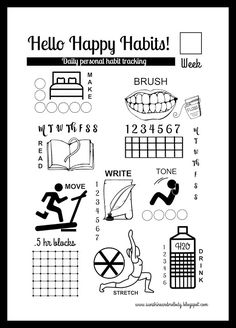 Sunshine and Melody This habit tracker is such a fun and easy way to help in habit forming. It is a simple printable weekly tacking sheet that includes a few daily habits that help form kids health and happiness.  Each Sunday would be a good time to pull out a new form and have it close by to track your habits daily.