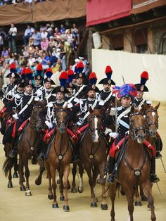 Horses and Guards Parading at El Palio Horse Race Festival, Piazza Del Campo, Siena, Tuscany, Italy
