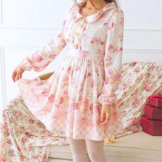 Kawawii Strawberry Floral Long Sleeve Dress SP165811