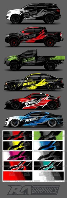 Here we have the RA Graphic Pack 8 simple bold and aggressive wrap design perfect for use as a full wrap design or to add some excitement into your existing work. Now with extra design elements for you to use Supplied in Ai and PDF file format Racing Car Design, Truck Design, Car Stickers, Car Decals, Vehicle Signage, Drifting Cars, Custom Paint Jobs, Racing Stripes, Car Posters