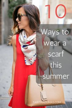 10 ways to wear a scarf for summer is part of Plus Size fashion Street Style - Not sure how to wear a scarf for summer Scarves are a great way to jazz up an outfit without burning up Here are ten fun ideas! Ways To Tie Scarves, Ways To Wear A Scarf, How To Wear Scarves, Scarf Outfit Summer, Summer Outfits, Summer Scarf Tying, Head Scarf Tying, Spring Scarves, Scarf Dress
